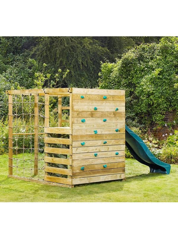 Plum Plum Climbing Cube Wooden Play Centre This brilliant Plum Climbing Cube Wooden Play Centre brings all the fun of the playground to your own home. Sit back and relax in your garden as your children play in this brilliant play centre. It features action packed activity all the way around, with climbing platforms, ladders, trapezes and slide for climbing, swinging, sliding and hiding.Its range of great features includes climbing platform with wooden ladder and 8ft wave slide, cargo…