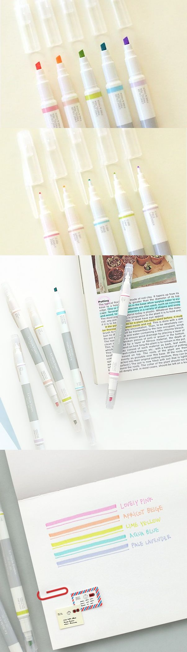 Whoa! Check out this dual sided pen! One side has a fine tip for writing and the other side has a thicker tip for highlighting! This pen set includes 5 really cute pastel colored pens in Lovely Pink, Apricot Beige, Lime Yellow, and Pale Lavender! These pens are very handy for taking notes while also highlighting important keywords, phrases, or any important information! Absolutely essential for school, office, and home.