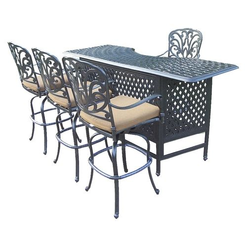 Patio Furniture Catalog: Hampton 5-Piece Aluminum Patio Bar Dining Furniture Set