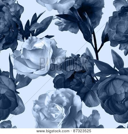"""""""art vintage monochrome watercolor floral seamless pattern with dark grey blue peonies and white roses isolated on white background"""" Stockfotos & Stockbilder 