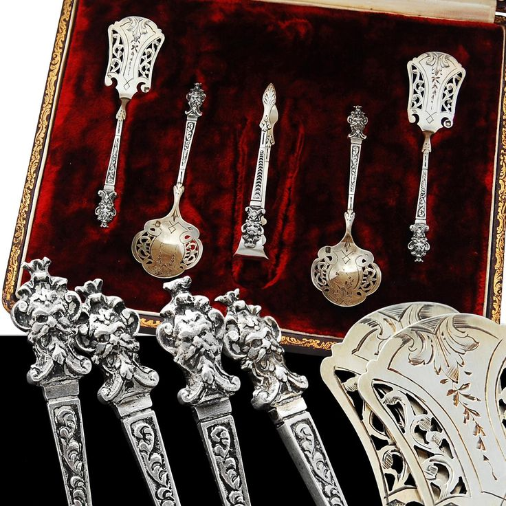 Antique French Silver & Vermeil 5pc Hors d'oeuvre Set - Mascarons!