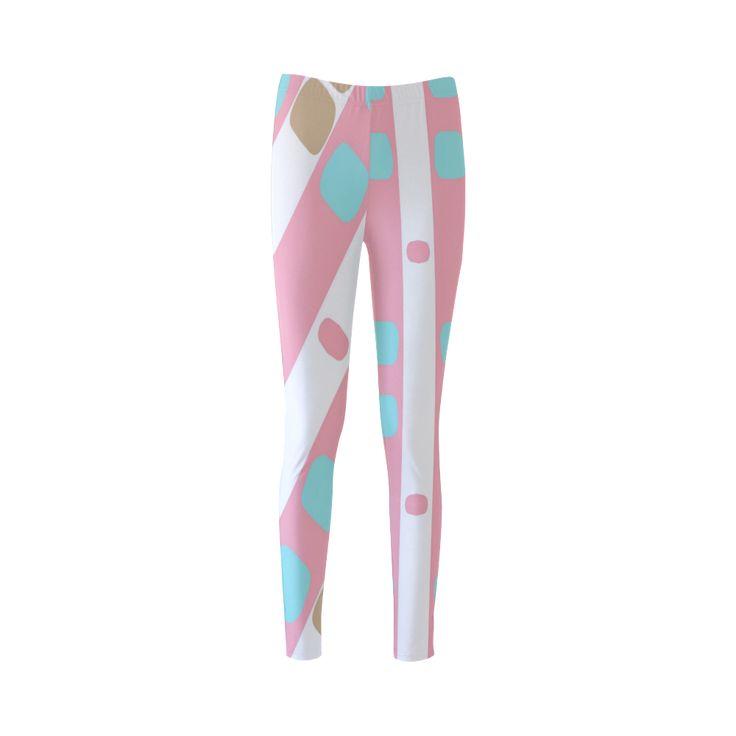 Leggings -pastel stripes with dots Custom Fashion Leggings for Women