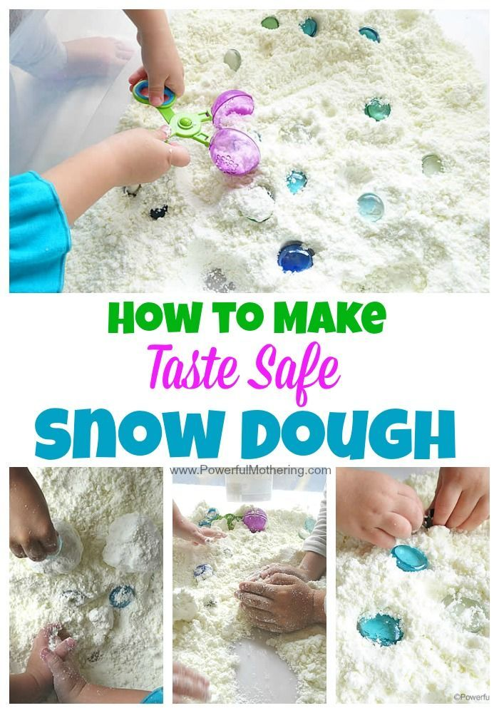 2 ingredients and a whole bunch of fun! make this snow dough for your toddler or preschooler to enjoy. A lovely sensory bin and part of our 12 months of taste safe sensory doughs.