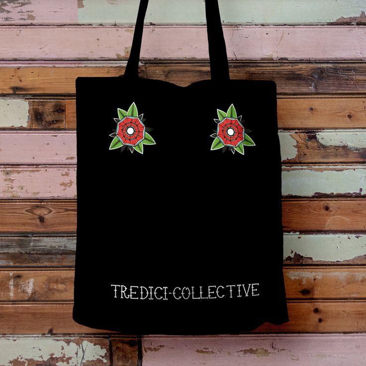 Tredici Collective — Black 'Flor' Tote Bag