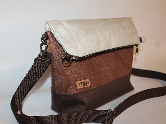"Foldover bag""Latte"" 3 tone Brown faux leather tote cross body bag women's gift everyday bag #foldover bag #lattebag #cross body bag #fauxleatherbag #brown #veganbag #women #topbag"
