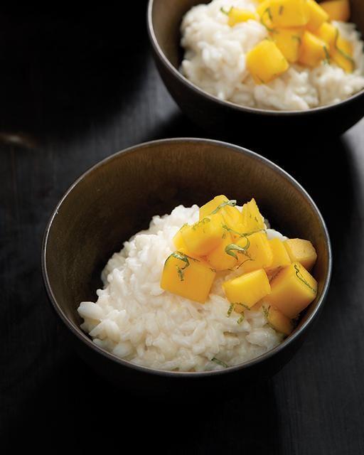 Coconut Rice Pudding with Mango & Thai Basil - via Sweet Paul