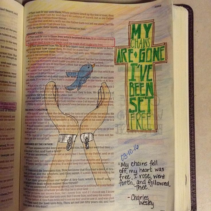 "From today's Lent devotional the word ""free"" found in John 8:31-32. #free #setyoufree #mychainsaregone #ivebeensetfree #lent #lentdevotion ##lentillustrated #biblejournalingcommunity #bibleart #biblejournal #illustratedfaith #documentedfaith http://ift.tt/1KAavV3"