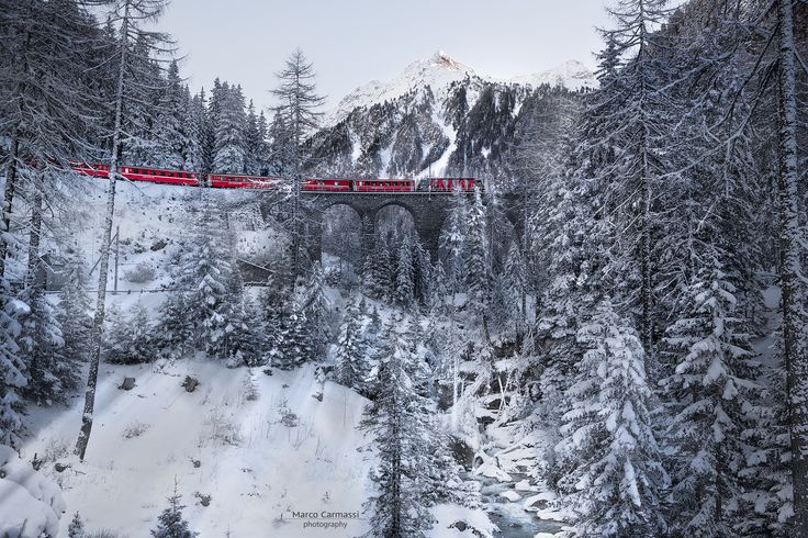 Red Bernina Express by Marco Carmassi on 500px