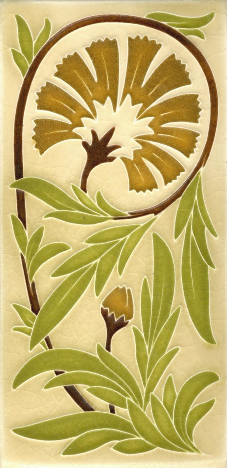4x8 Carnation in Olive by Motawi Tileworks