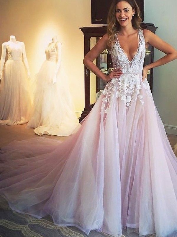 a3758645635 A-Line V-neck Sweep Brush Train Tulle Sleeveless With Applique Dresses