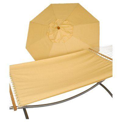 Phat Tommy 9 ft. Wood Sunbrella Umbrella and Hammock Set Cornsilk - 330/350-COMBO.CORNSILK, Durable