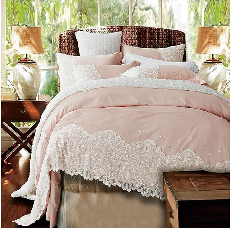 What do you think of this gorgeous pink bedding?   Paris Pink Lace Egyptian Cotton Duvet Cover Set