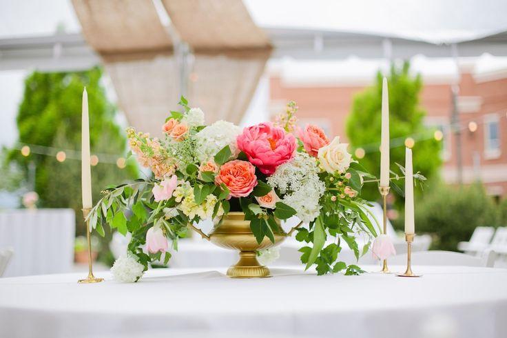 Coral peony garden rose gold urn wedding centerpiece