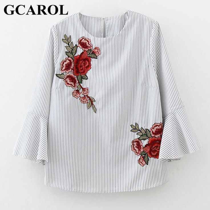 GCAROL 2017 Women Embroidery Floral Blouse Striped Shirt Flare Sleeve Design Shirt Early Spring Summer Tops For Ladies