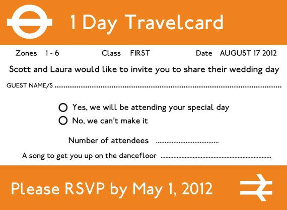 London Underground wedding RSVP graphic template by happywhale