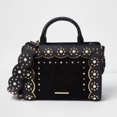 River Island Womens Black studded scallop cross body tote bag