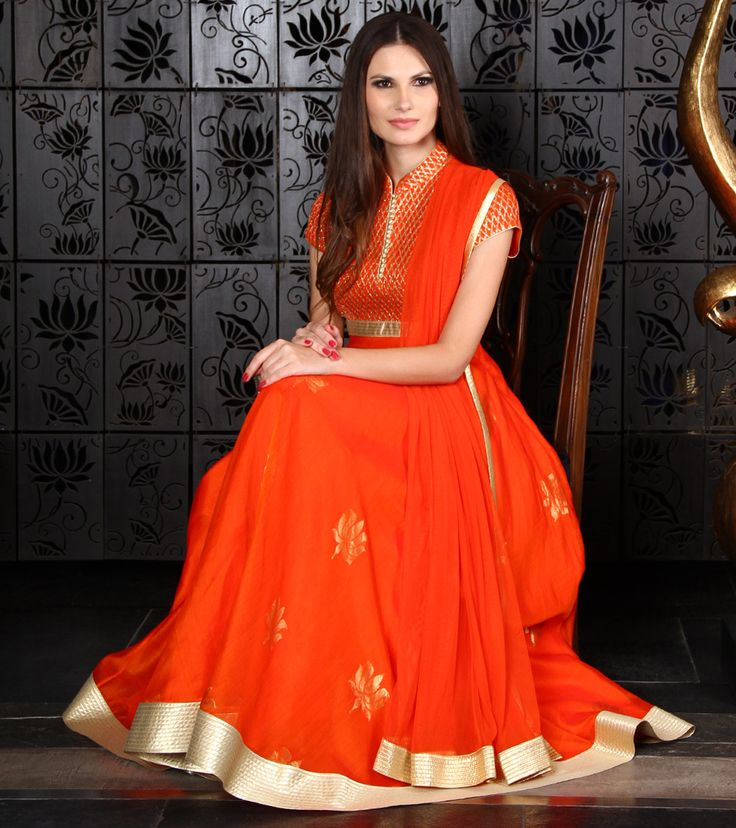 Orange Chanderi Anarkali Suit with Pintucked Embroidery