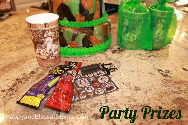 Hunting Theme Parties with Camouflage and Duck Dynasty Party Prizes from HappyandBlessedHome.com
