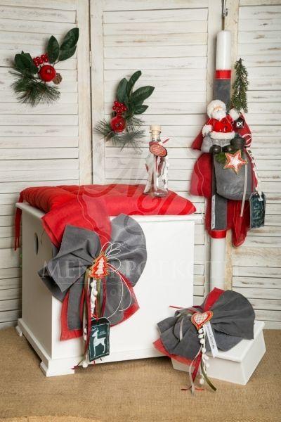 Χριστουγεννιάτικο σετ βάπτισης για αγόρι με Άγιο Βασίλη