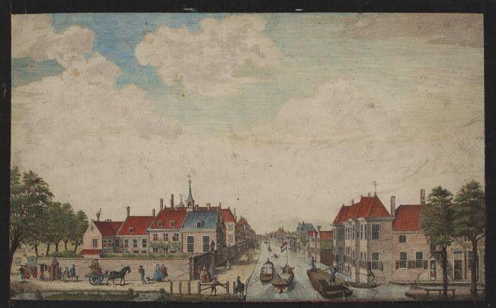 Gezicht van het inkome in 's Gravenhage van de Delftse trekvaart, uitgegeven door H. Scheurleer Fz., 1757. Collectie Atlas van Stolk.