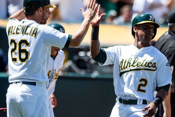 Danny Valencia #26 of the Oakland Athletics celebrates with Khris Davis #2 after both scored on a two-run double by Yonder Alonso (not pictured) during the sixth inning against the Toronto Blue Jays at the Oakland Coliseum on July 17, 2016 in Oakland, California. The Toronto Blue Jays defeated the Oakland Athletics 5-3.
