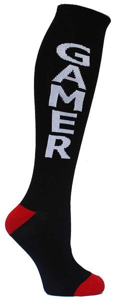 Black knee high socks with GAMER in white lettering & red accents. Unisex design: fits a women's shoe size 7 - men's 13.5.