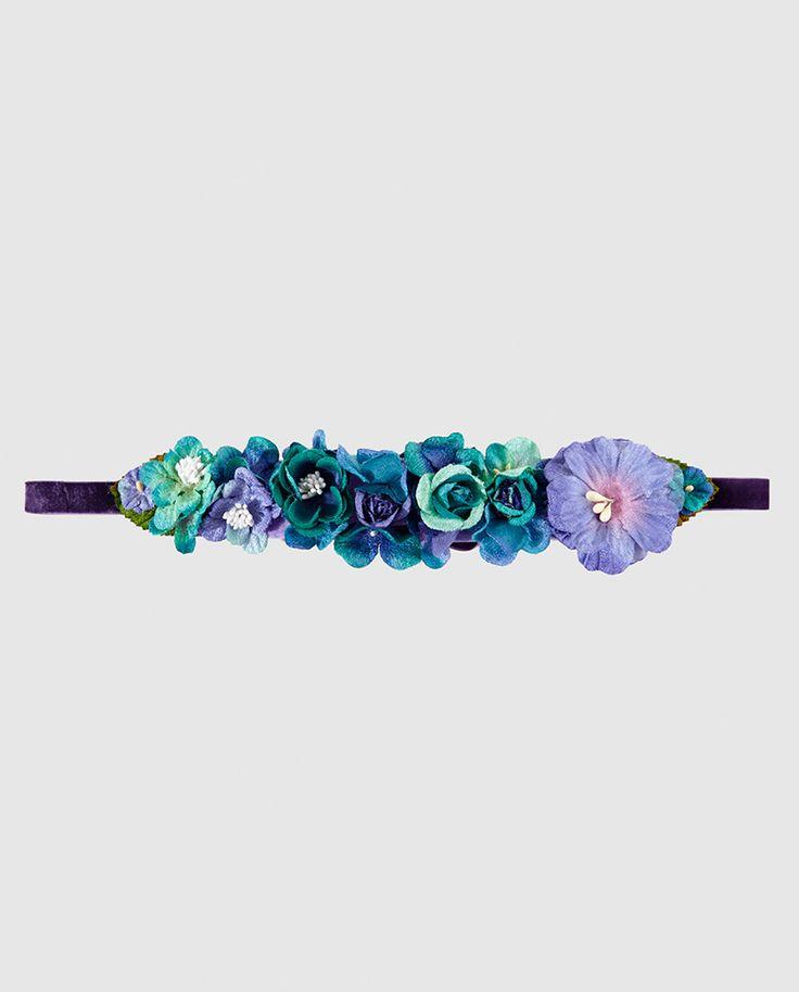 Cinturón de flores en azul