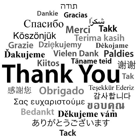 Saying 'thank you' in different languages =)