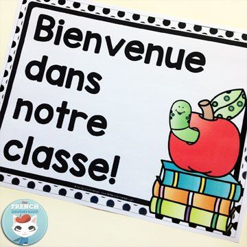 French Classroom Decor Polka Dots: BIENVENUE poster in color and B&W. A beautifully-decorated French classroom with little color ink use! Print the color welcome posters on white paper OR the B&W version in colored paper. You can even print on colored paper and color parts of the image just like in the picture!