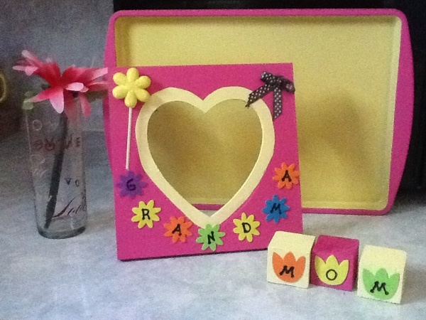 Photo frame and blocks made for Mom's birthday.