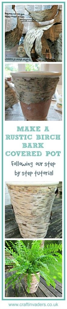Great step by step tutorial showing you how to cover a plant pot with Birch Bark. Beautiful rustic craft which adds a bit of nature to any interior.