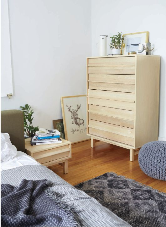 EQ3 Lifestyle Imagery: 2012 Fall Catalogue. Featured here, Bento Bed, Maple Nightstand, Maple Wide Chest, Quince Rug, Stelton Vaccum Jug