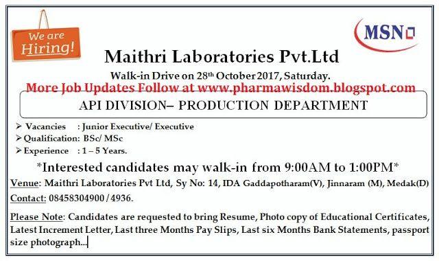 PHARMA WISDOM: Maithri Laboratories Pvt  Ltd (MSN Company