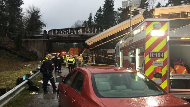 PHOTO: Emergency crews respond to the scene of a train derailment over Interstate 5 in Washington state, Dec. 18, 2017. (Pierce County Sheriff)