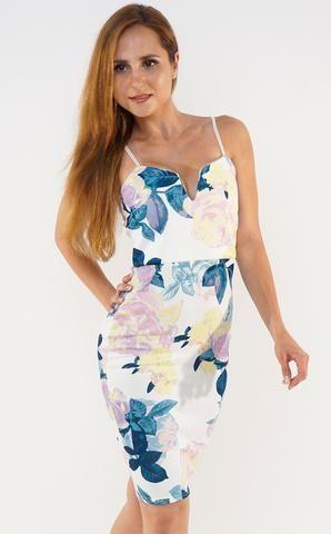 **Ivory Teal Multicoloured Floral Plunge 'V' Neck Bodycon Dress**