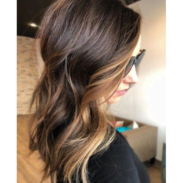 Caramel Money Piece On A Brunette Base Haircolor Formula Hair Color Formulas Matrix Hair Color Caramel Hair