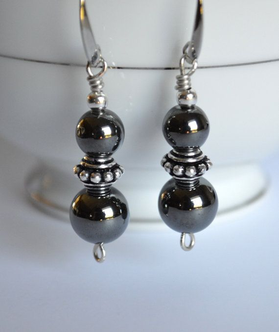 Hematite and silver dangle earrings by starrydreams on Etsy, $20.00