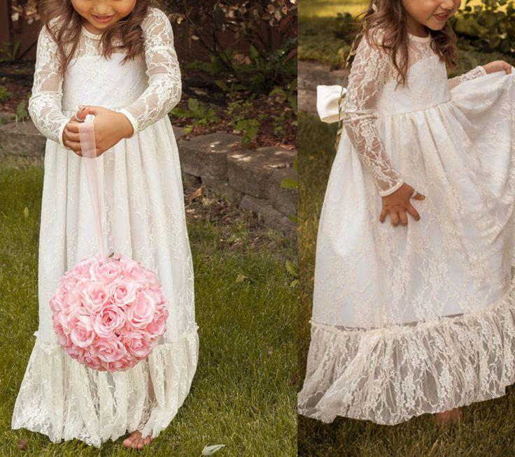 Flower Girl Dress,Lace Flower Gril dress,Children's Wedding Dress,Girl's Birthday Party Dress,Long Sleeve Flower Girl dress,Lace Flower Gir by prom dresses, $106.00 USD