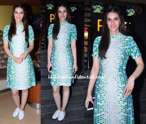 Kriti Sanon with high neck dress open hairstyle