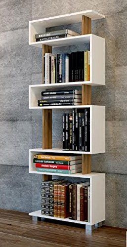 BLOCK tall bookcase, bookshelf, white shelving unit, walnut (WHITE-WALNUT)