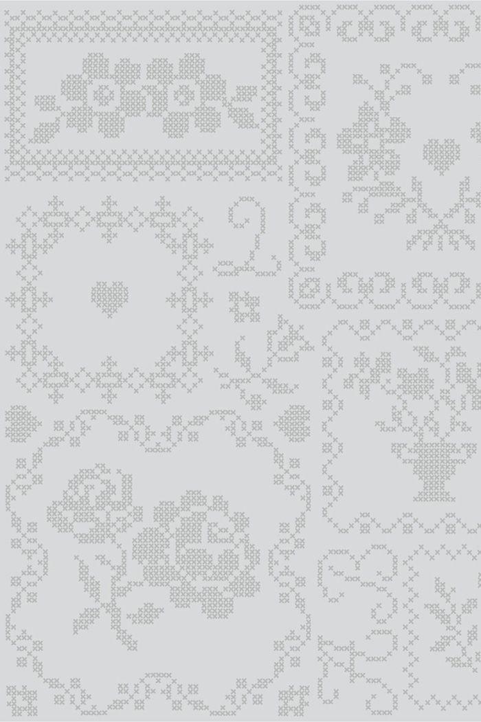 PiP Cross Stitch Grey wallpaper | Traditional | Wallpaper | PiP Studio
