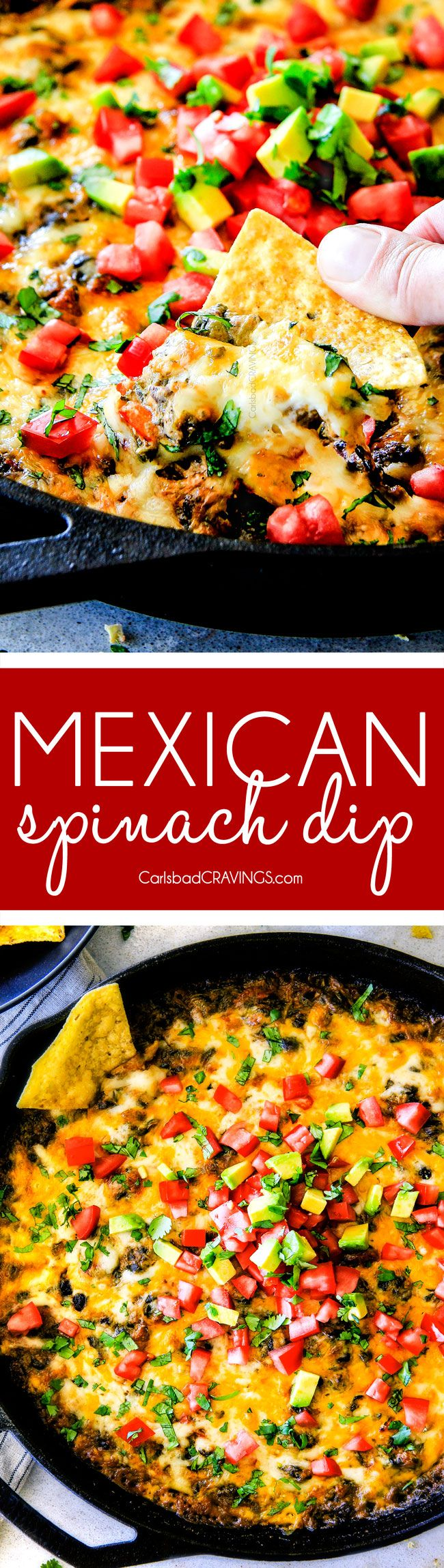 This warm, creamy, cheesy Mexican Spinach Dip is easy, make ahead, bursting with fiestalicious spices and quite possibly the BEST Spinach Dip ever AKA your new back pocket crowd pleasing appetizer for every occasion! #spinachdip #appetizer