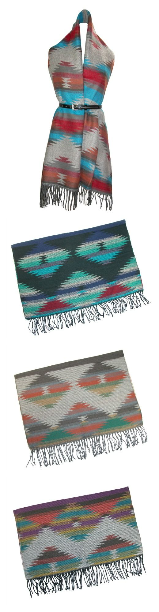 This fall and winter, wrap yourself in superior softness with this large blanket scarf. Rich colors make up the Native American southwestern design, and the five different color options will allow you to match any outfit. These blanket scarves are a must-have fall and winter fashion staple!