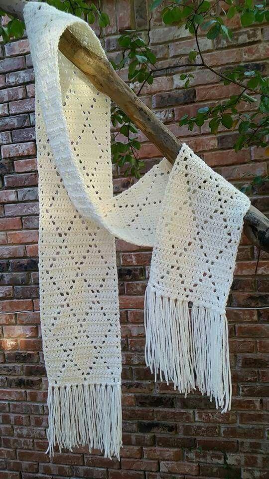 Crochet diamond scarf using I Love This Yarn