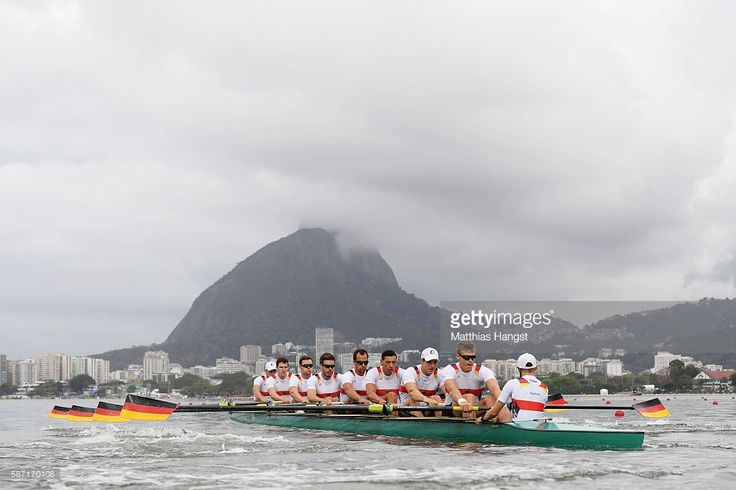 Maximilian Munski of Germany, Malte Jakschik of Germany, Andreas Kuffner of Germany, Eric Johannesen of Germany, Maximilian Reinelt of Germany, Felix Drahotta of Germany, Richard Schmidt of Germany, Hannes Ocik of Germany and Martin Sauer of Germany compete in the Men's Eight Heat 2 on Day 3 of the Rio 2016 Olympic Games at the Lagoa Stadium on August 8, 2016 in Rio de Janeiro, Brazil.