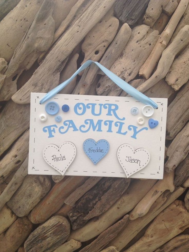 Family Personalised Plaque With Hearts 4 Names Any Colour Gift Present