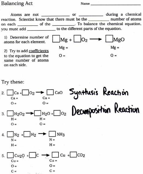 Balanced Chemical Equations worksheet | teaching | Chemical equation ...