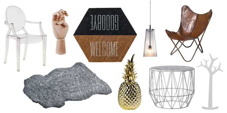 Interior inspiration - some of my favourites right now!   Visit my page for more inspiration, interior and outfits!  #plast #stol #transparent #dörrmatta #glas #lamp #fåtölj #fårskinn #ananas #pineapple #gold #mässing #soffbord #klädhängare