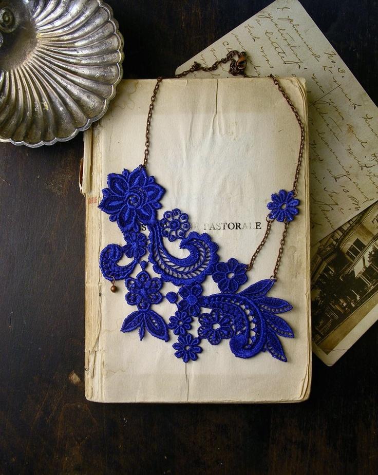 lace necklace -MIHARA- (cobalt blue). $32.00, via Etsy.
