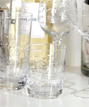 Coral Beach Fish Cut Old Fashioned Glass transitional-cups-and-glassware